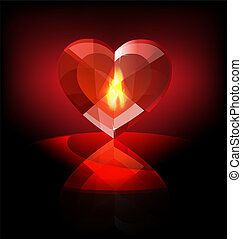 on a dark background a big scarlet flaming heart-crystal