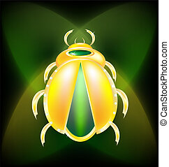 golden beetle - on a dark-green background is a large golden...