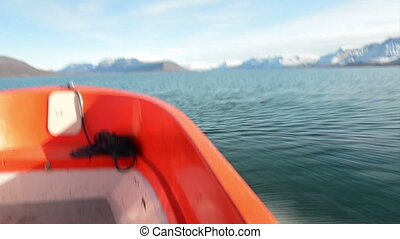 On a dinghy in Greenland - Driving through Greenlandic...