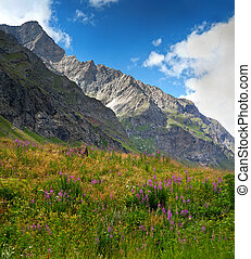 on a hiking trail with mountain at the background located between the Aosta Valley