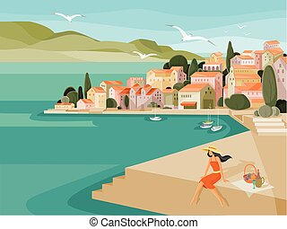 on a hot summer day, a woman in a hat made a picnic on the embankment by the sea against the background of houses with red roofs and yachts, seagulls fly,