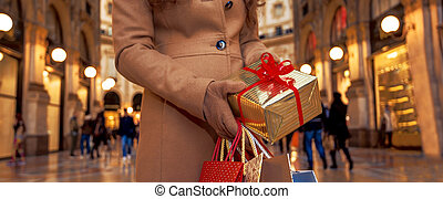 Closeup on Christmas gift and shopping bags in hands of woman