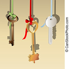 three keys - on a light background are three keys of...