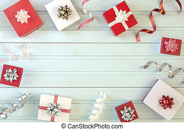 On a light blue background, a lot of red and white gift boxes. In the center there is an blank place for text, copy space.