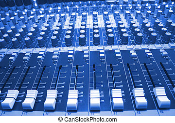 mixing desk - On a photo mixing desk. Close up photos.