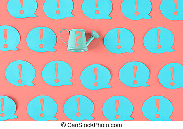 On a pink background, many blue stickers with exclamation marks are pasted. Among them there is a small blue watering can with a question mark.