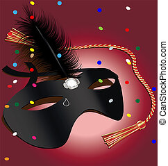 carnival mask - on a red background black carnival mask in a...
