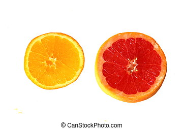 two slices of orange and grapefruit