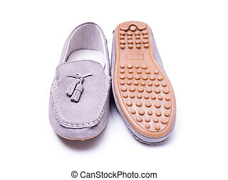 On a white isolated moccasin background