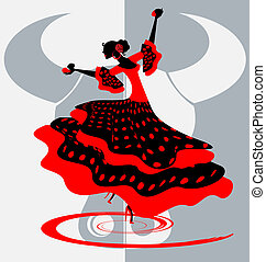 on abstract background is an black-red silhouette Spanish dancer