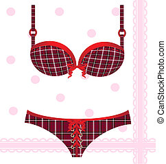 on abstract background is lady's checkered underwear: underpants, bra, decorated red lace and ribbon