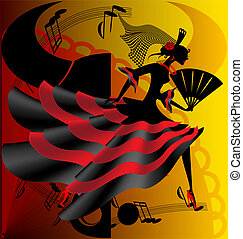 on abstract background with fan and bull is an black-red Spanish dancer
