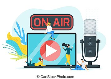 On air color flat vector illustration