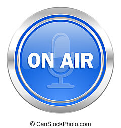 on air icon, blue button