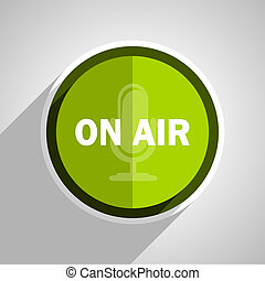 on air icon, green circle flat design internet button, web and mobile app illustration