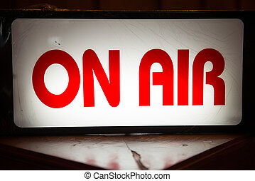 """""""On Air"""" light box signs in front of radio station, label"""