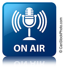 On air (mic icon) blue square button