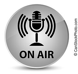 On air (mic icon) elegant white round button