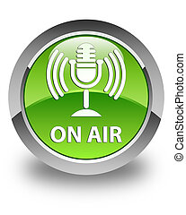 On air (mic icon) glossy green round button