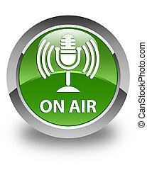 On air (mic icon) glossy soft green round button