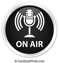On air (mic icon) premium black round button