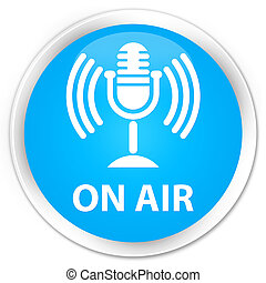 On air (mic icon) premium cyan blue round button