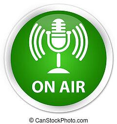 On air (mic icon) premium green round button