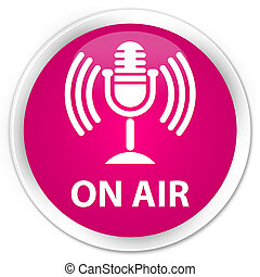 On air (mic icon) premium pink round button