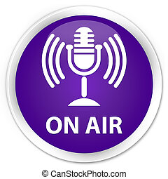 On air (mic icon) premium purple round button