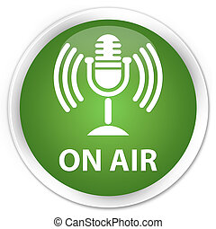 On air (mic icon) premium soft green round button