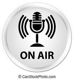 On air (mic icon) premium white round button