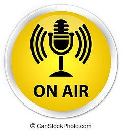 On air (mic icon) premium yellow round button