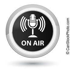On air (mic icon) prime black round button