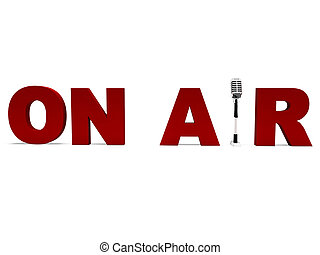 On Air Microphone Shows Broadcast Studio Or Live Radio - On...