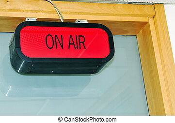 on air sign in radio station
