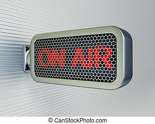 on air banner on a black wall  isolated