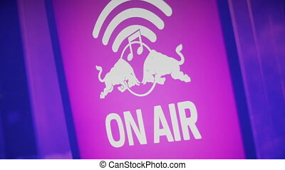 """On Air warning sign at sound recording studio, radio, tv..."