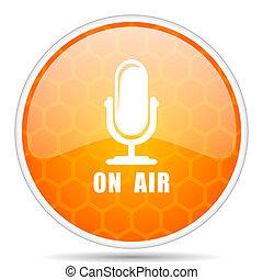 On air web icon. Round orange glossy internet button for webdesign.