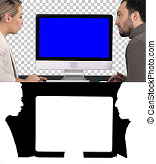 Business collegues a man and a woman having a talk about what is on the screen of the computer, Alpha Channel. Blue Screen Mock-up Display.