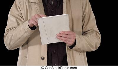 Hands of man using tablet, Alpha Channel - On Alpha Matte....