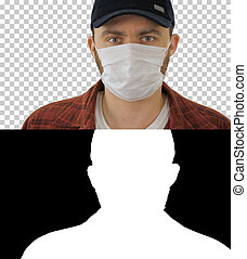 Man in black baseball cap with a medical mask on his face, Alpha Channel