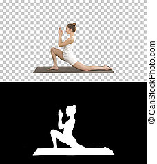 Sporty attractive girl practicing yoga, standing in Horse rider