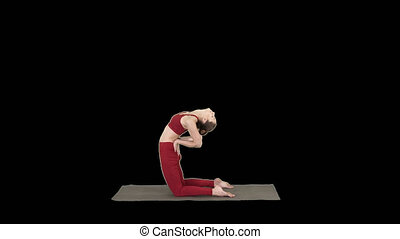 Sporty beautiful young woman practicing yoga, doing Ushtrasana, Camel Pose, Alpha Channel