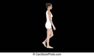 One female walking barefoot in white clothes, Alpha Channel...