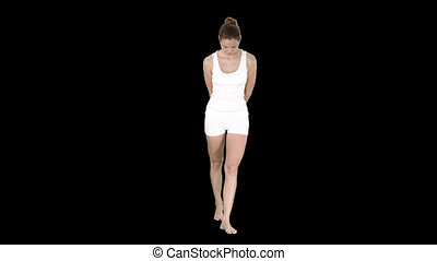 Young woman white walking and looking down, Alpha Channel -...