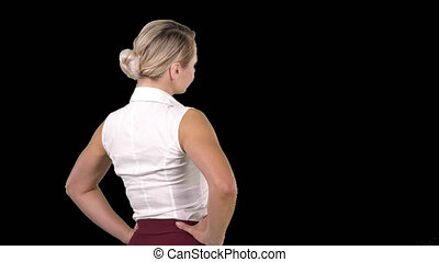 Business woman placing hands on hips, Alpha Channel - On...