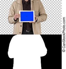 Male hands holding tablet with blue screen mockup, Alpha Channel