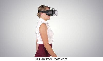 Woman in VR headset walking, Alpha Channel - On Alpha Matte....