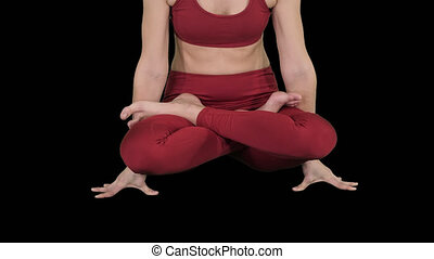 Sporty attractive woman practicing yoga, standing in Scale exercise, Tolasana pose, Alpha Channel