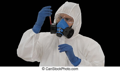 Virologist looking at blood test Coronavirus infection concept, Alpha Channel